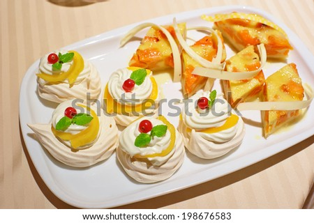 Close up of served desert in restaurant - stock photo
