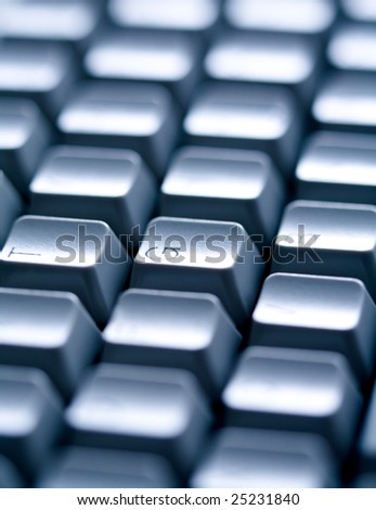 Close-up of several keys of computer keyboard with English letters on them - stock photo
