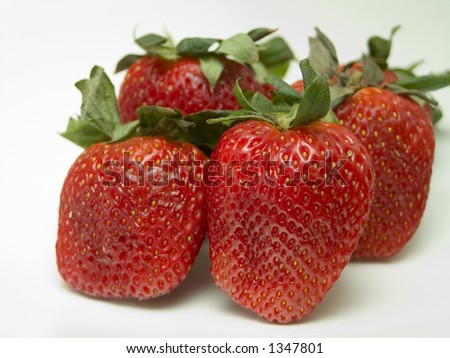 close-up of several strawberries - stock photo