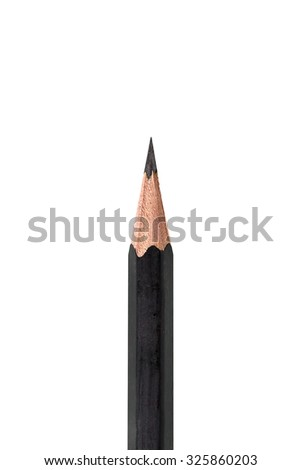 Close up of sharp pencil point isolated on white background - stock photo