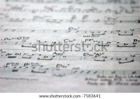 close-up of sheet music of an old jazz classic - stock photo