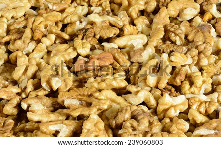 close up of shelled walnuts - stock photo