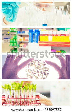 Close up of shelves of drugs against close up of a protected scientist dropping liquid in a test tube - stock photo
