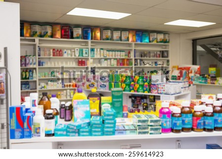 Close up of shelves of drugs in the pharmacy - stock photo