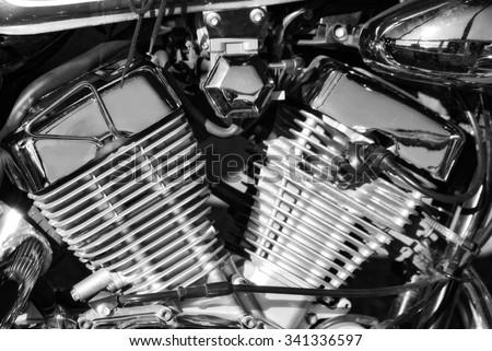 close-up of shiny motorcycle engine - stock photo