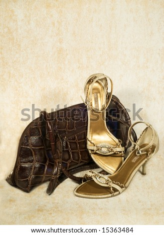 close up of shoes and bag - stock photo