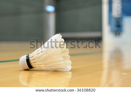 Close up of shuttlecock in badminton game - stock photo