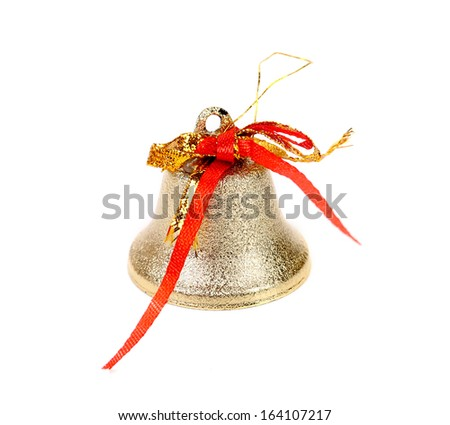 Close up of silver jingle bell. Isolated on a white background. - stock photo