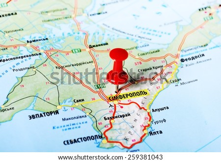 Close up of Simferopol ,Ukraine or Russia , map with red pin - stock photo