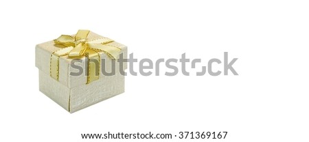 Close Up Of Single Pearly Gift Box With White Pattern, Golden Ribbon And Bow, Isolated On White Background,  Horizontal Image With Copy Space, Front View - stock photo