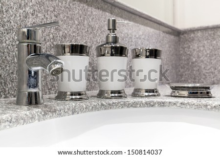 Close up of sink in the bathroom, basin - stock photo