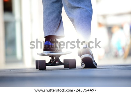 Close up of skaters board - stock photo