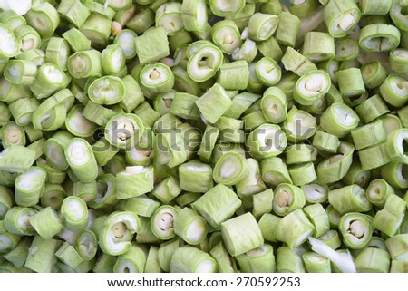 Close up of sliced fresh cowpea beans - stock photo
