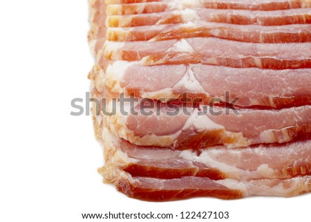 Close-up of sliced raw bacon displayed on white background. - stock photo