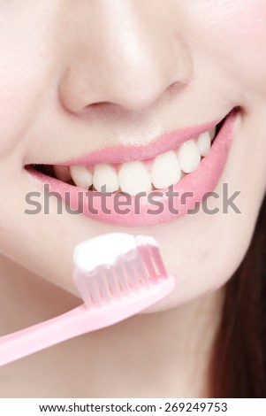 Close up of Smile woman brush teeth. great for health dental care concept, Isolated over white background. asian - stock photo
