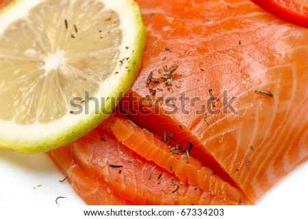 close-up of smoked salmon - stock photo