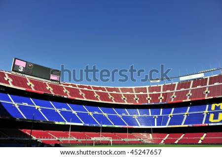 Close up of soccer stadium Camp Nou in Barcelona, Spain. - stock photo