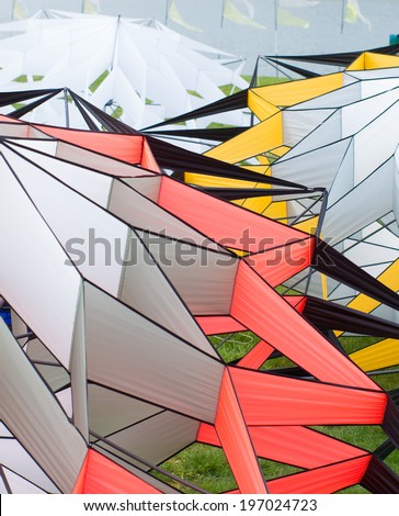 close-up of some kites during a kite festival - stock photo