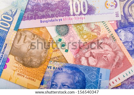 Close up of South African currency the Rand isolated on white background - stock photo