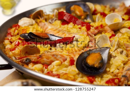 Close up of Spanish seafood rice paella - stock photo