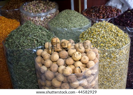 close up of spices for sale at the spice souk, dubai - stock photo