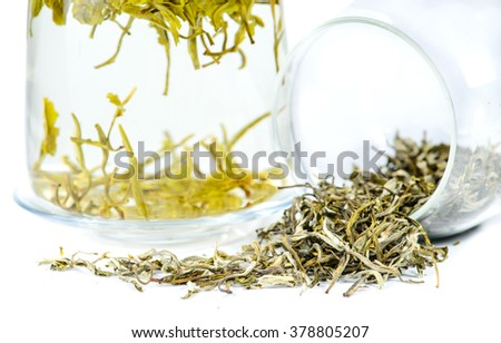 close-up of spilled tea Tea Huangshan Maofeng, tea in a teapot, shallow DOF - stock photo