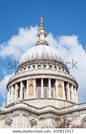 Close up of  St. Paul Cathedral Dome in London England United Kingdom - stock photo