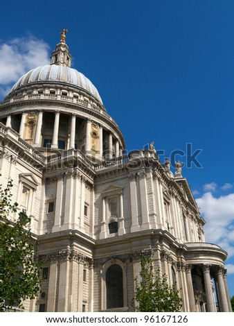 Close up of St Paul's Cathedral in London UK. - stock photo