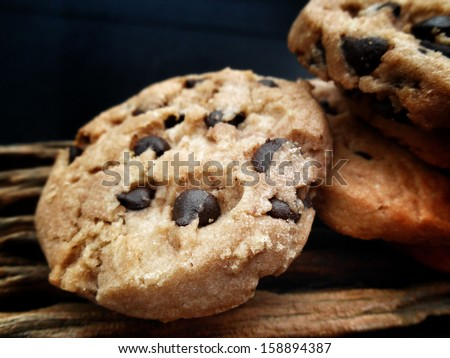 Close-up of stacked chocolate chip cookies - stock photo