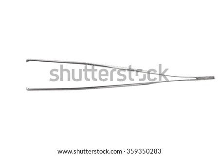 Close up of stainless steel surgical forceps isolated on white background. Clipping path included. - stock photo