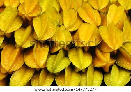 Close-up of starfruits  - stock photo
