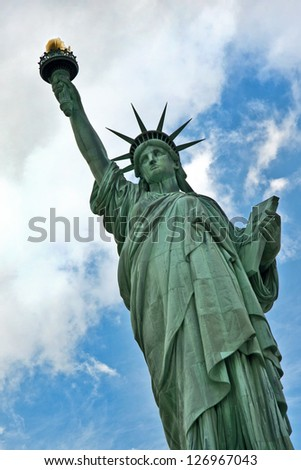 Close up of Statue of Liberty, New York City - stock photo