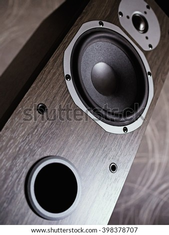 Close-Up of stereo speaker, low angle view. Shallow depth of field. - stock photo