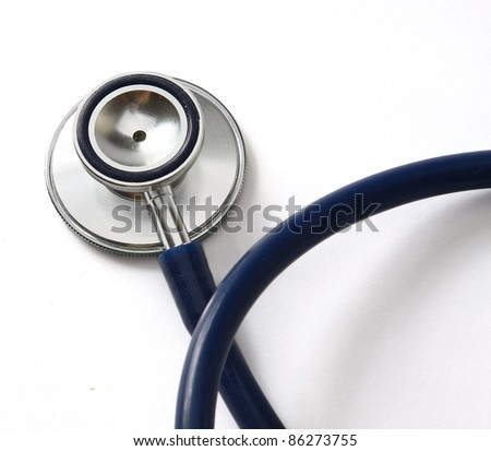 Close-up of stethoscope isolated on white bacckground. Selective view - stock photo