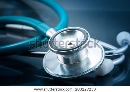 Close-up of stethoscope on x-ray image - stock photo