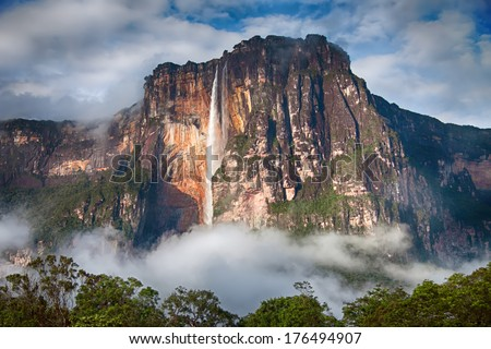 Close-up of stunning Angel Falls in soft morning light - stock photo