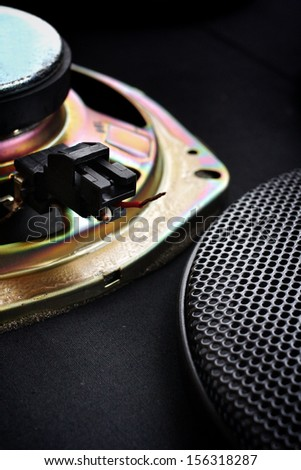 Close-up of subwoofer black speaker - stock photo