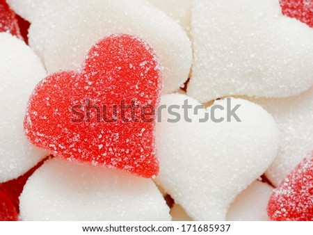 Close-up of sugared candy hearts for Valentine's Day - stock photo