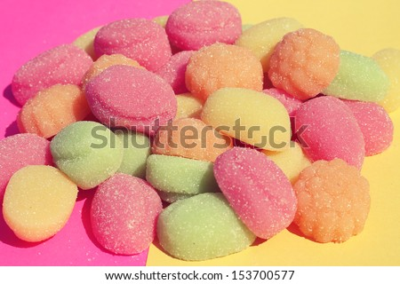 close up of sweet colorful fruity candy  - stock photo