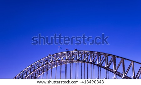 Close up of Sydney Harbour Bridge at dusk - stock photo
