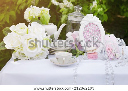 Close-up of Table decoration for wedding or love story  - stock photo