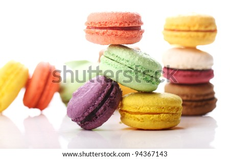 Close up of Tasty macaroons - stock photo