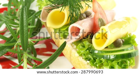 Close up of tasty sandwich with rolled ham and cheese - stock photo