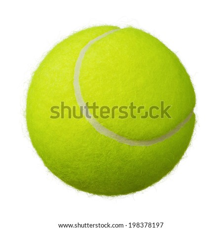 Close up of tennis ball isolated on white background - stock photo