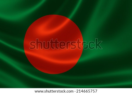 Close up of the flag of Bangladesh on silky fabric - stock photo