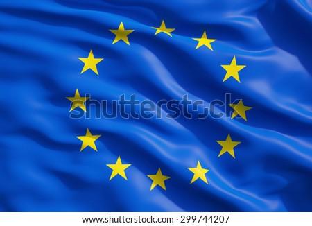 Close up of the flag of European Union. EU Flag Drapery. - stock photo