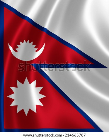 Close up of the flag of Nepal on silky fabric - stock photo