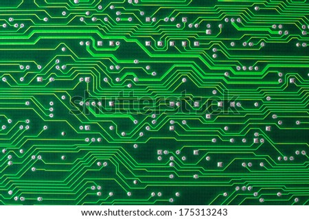 Close up of the green circuit board - stock photo