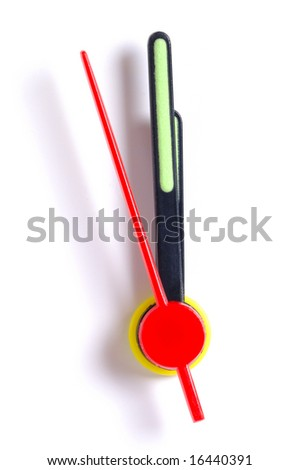 Close up of the hands of a clock, isolated on white, with the second hand approaching midnight (or midday). - stock photo