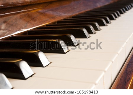close up of the keys of a piano - stock photo